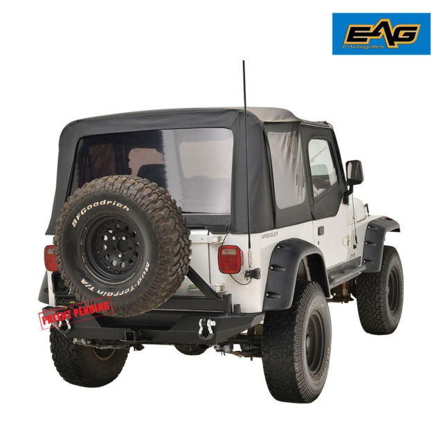 EAG 87 06 Jeep Wrangler TJ YJ Rear Bumper With Secure Lock Tire Carrier&D